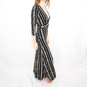 Desigual mid sleeve black&white maxi dress NWT